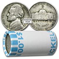 """1942 - 1945 U.S. Jefferson WWII """"War"""" Nickel, 35% Silver $1 Face Value 20-coins 5c Average Circulated to Fine"""