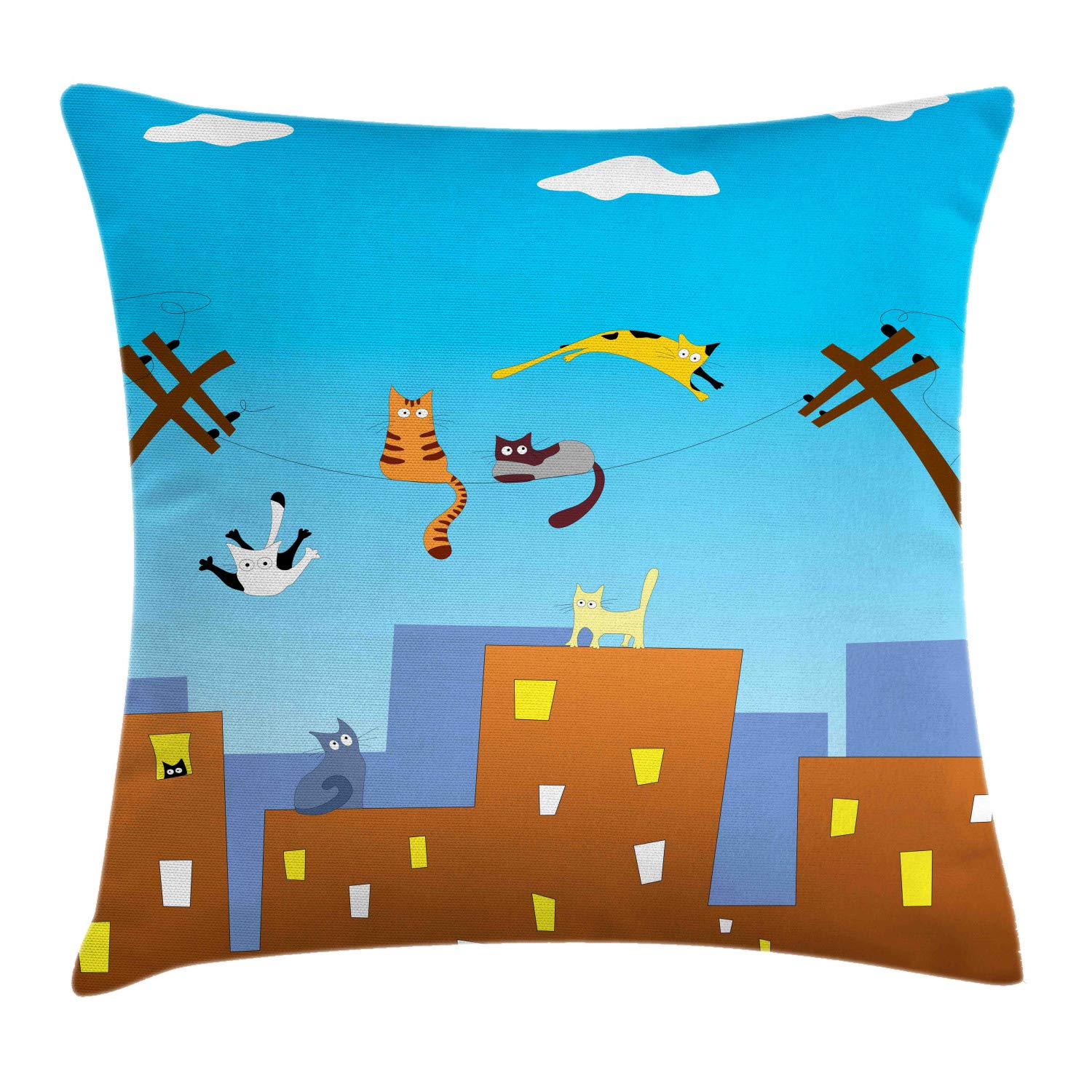 Lunarable Flying Cat Throw Pillow Cushion Cover, Playful Funny Kittens on Wires City Life Apartments Kids Nursery Playroom Theme, Decorative Square Accent Pillow Case, 26'' X 26'', Multicolor