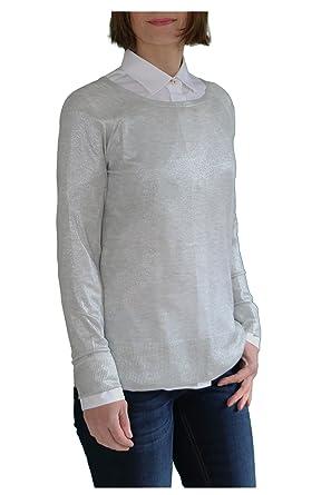 45c4ac0d7791 Malvin Damen Pullover Feinstrick Glanzeffekt - Silbergrau  Amazon.de ...