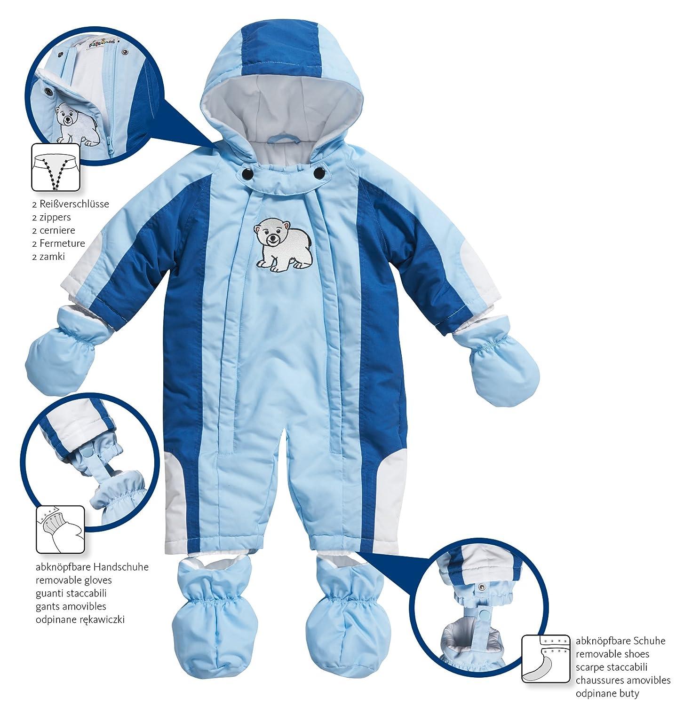 Playshoes Unisex Baby Schnee-Jacke Karo Marine//Hellblau Schneeanzug