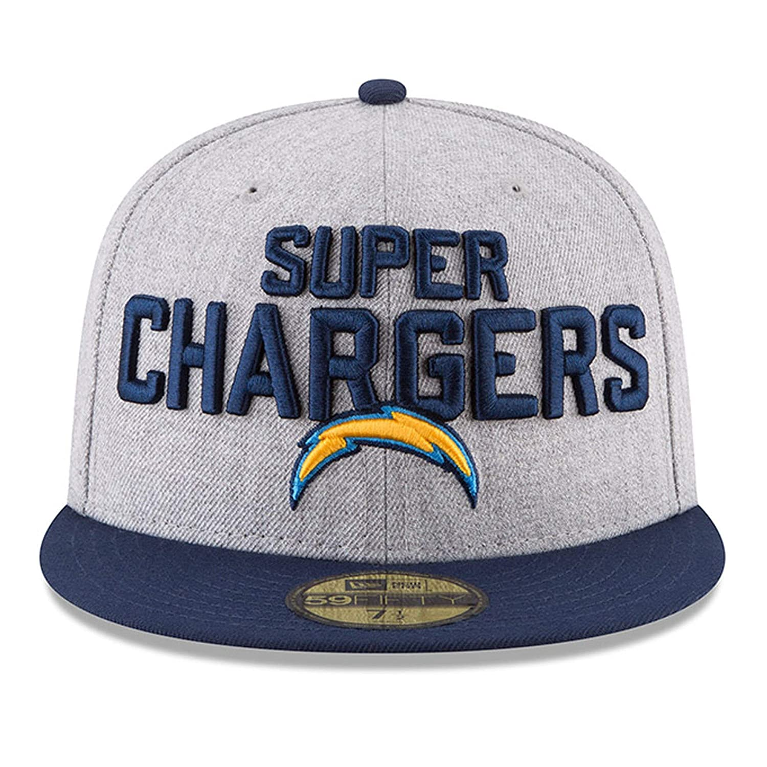 promo code 022ee 9c3a1 Amazon.com  New Era Los Angeles Chargers Heather Gray Navy 2018 NFL Draft  Official On-Stage 59FIFTY Fitted Hat  Sports   Outdoors
