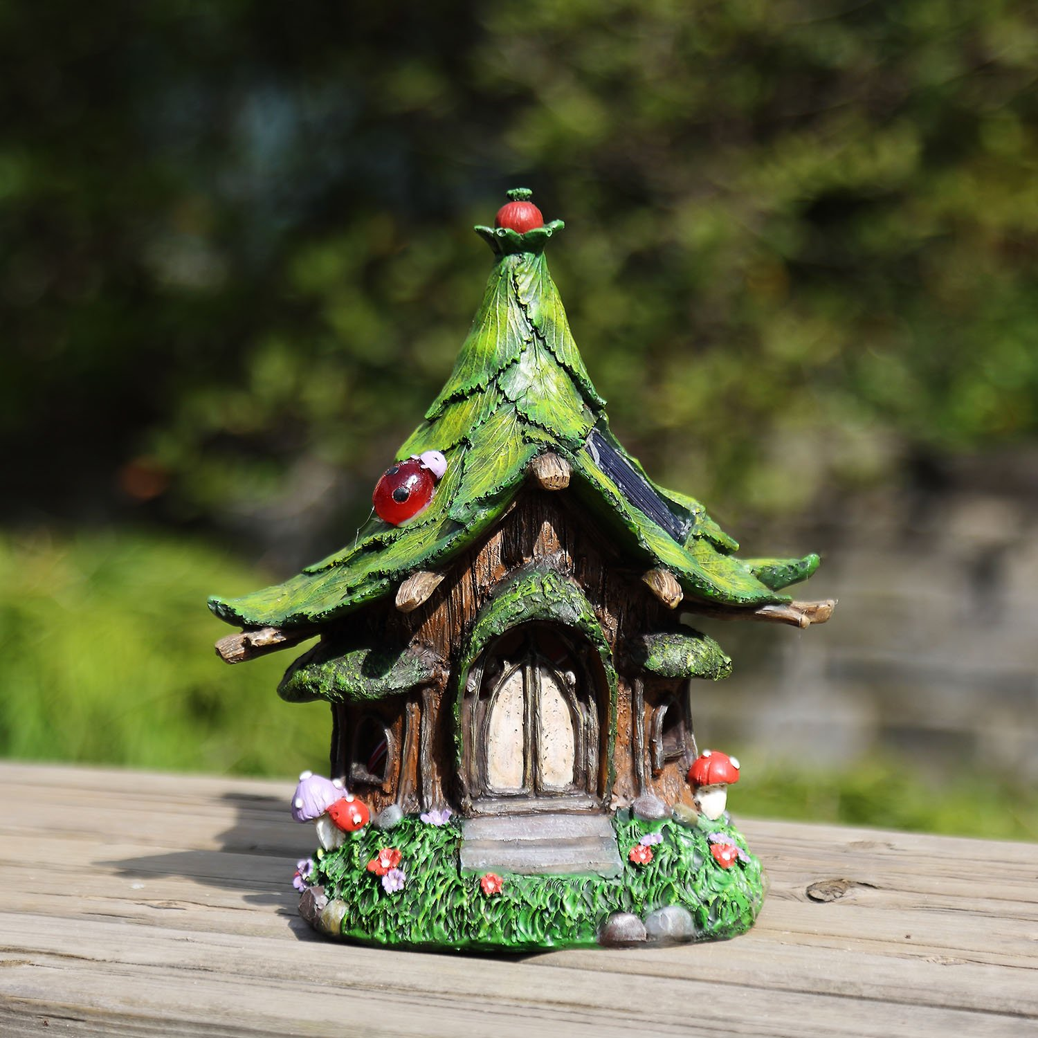 Ivy Home Outdoor Tree Hanging Fairy House with Solar Light,Green