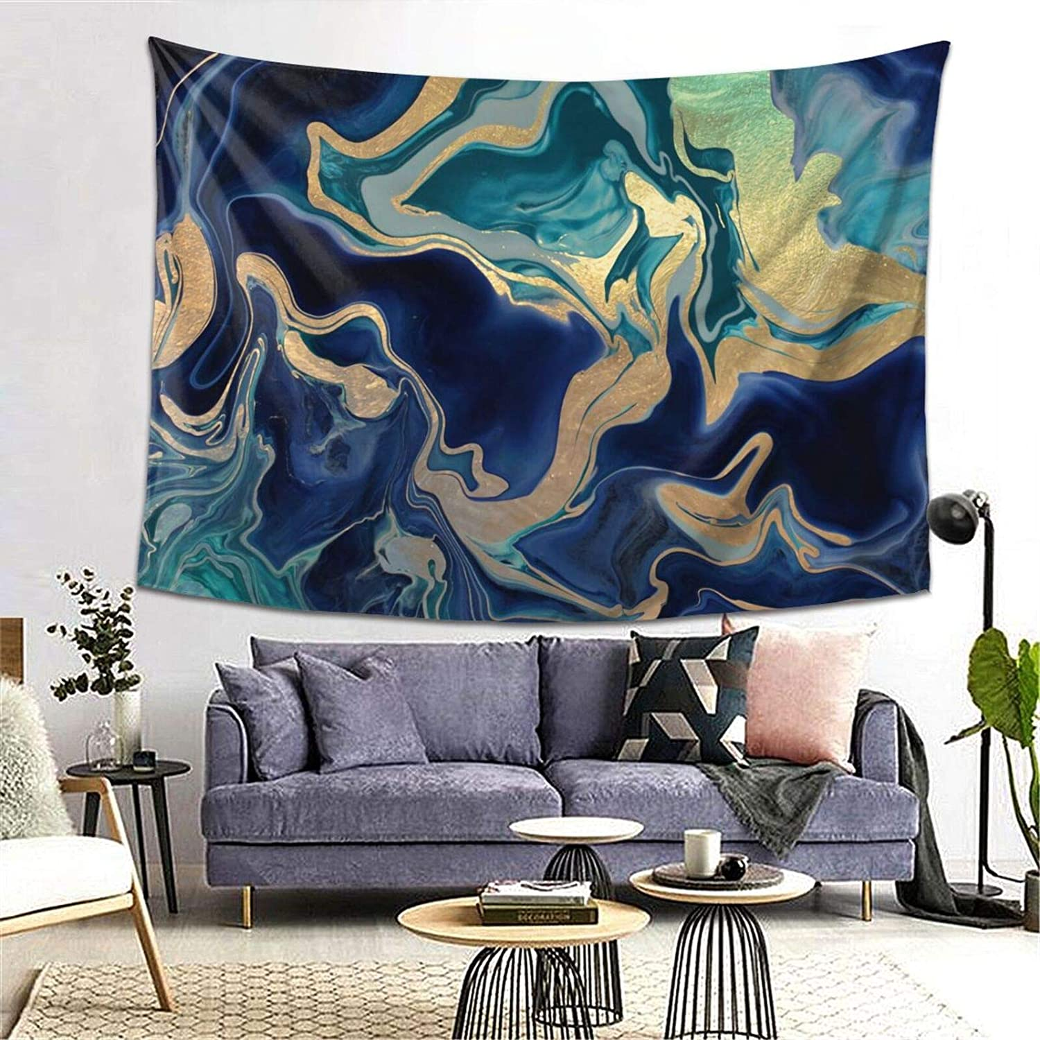 PRESANEW Tapestry Wall Hanging Gold Turquoise Green Navy Blue Wave Marblewall Tapestry with Art Nature Home Decorations for Living Room Bedroom Dorm Decor in 5 Size Options
