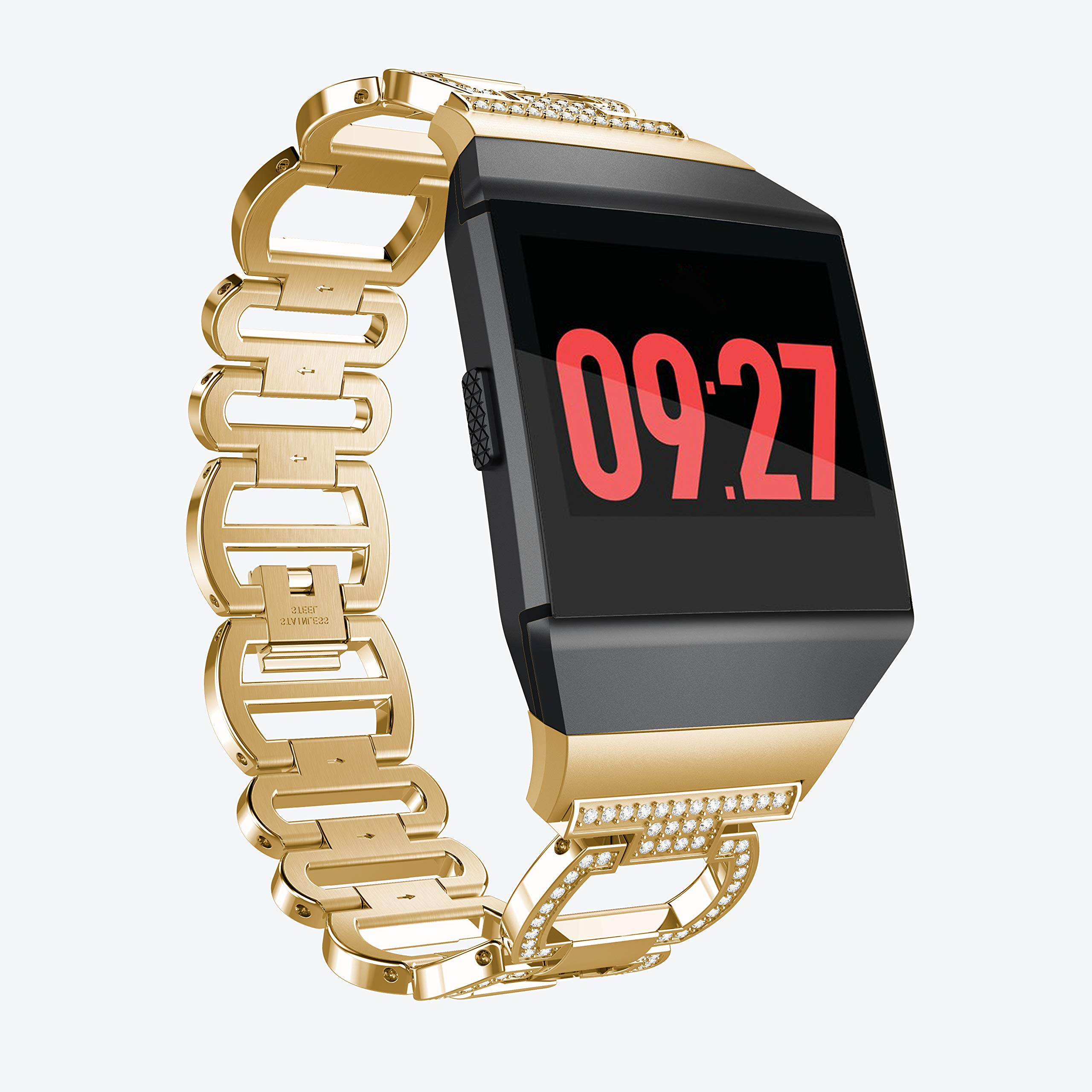 aczer-Y Fitbit Ionic Band Metal Accessories Small Large, Stainless Steel Replacement Band with Folding Clasp Strap for Fitbit Ionic Smart Watch Bands Wristband Women Men (H-Gold)
