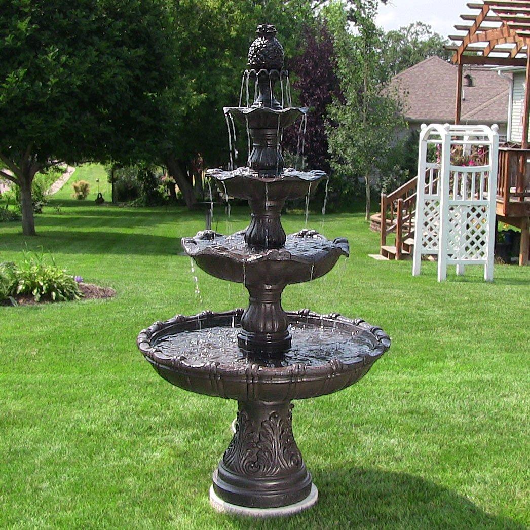 Beau Amazon.com : Sunnydaze 4 Tier Grand Courtyard Outdoor Water Fountain, Dark  Chestnut, With Electric Pump, 80 Inch Tall : Garden U0026 Outdoor