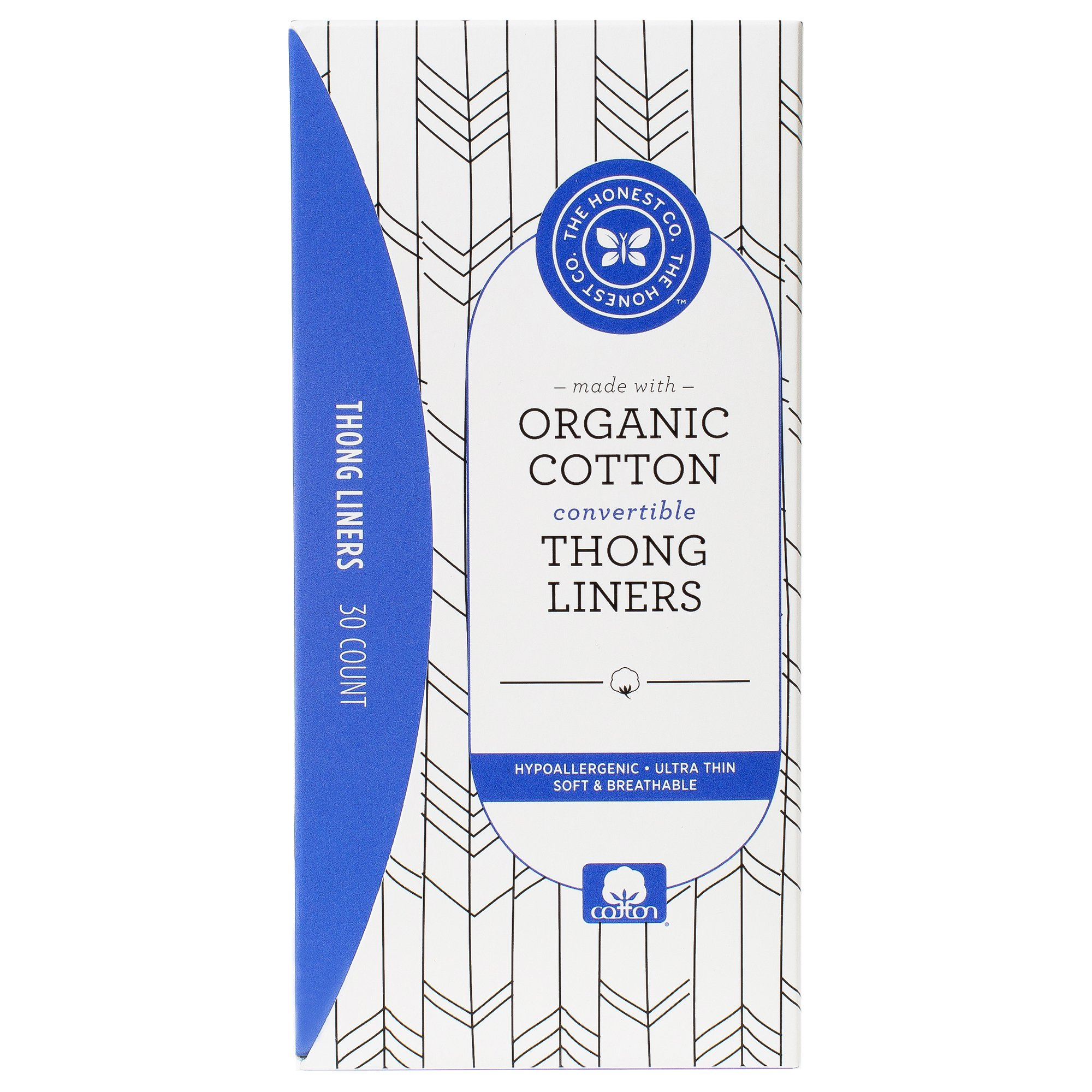 The Honest Company Organic Cotton Thong Liners, 30 Count