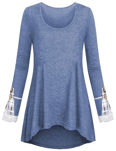 08482b734d7 Women Tunic Tops Loose Long Sleeve Shirt Tartan Lace Button Basic Layered  Blouse at Amazon Women's Clothing store:
