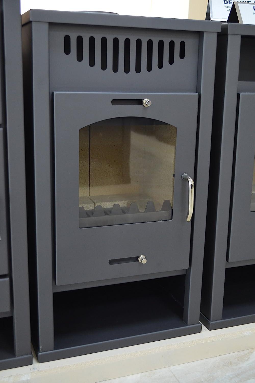 Estufa de leña con caldera integral, chimenea de combustible sólido para calefacción central de madera/carbón, potencia de calentamiento 12/17 kW
