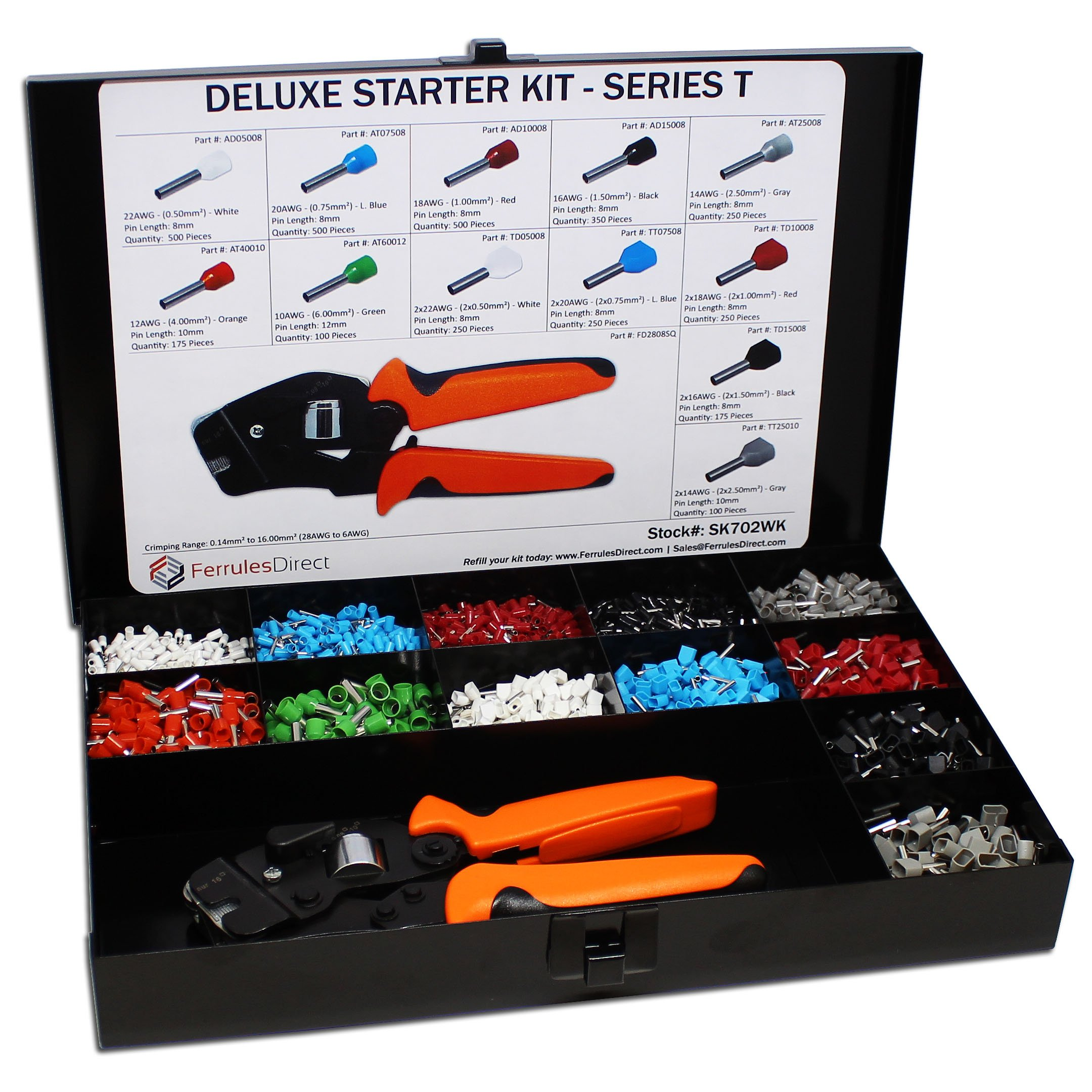 3450 Piece Wire Ferrules Starter Kit with Self Adjusting Tool 22 AWG to 10 AWG Insulated Connectors-SK702WK