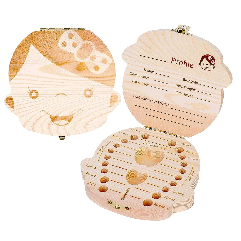Texto Beb/é Dientes Caja Save Cajas de Madera Personalizada Caja de Recuerdos de Hoja Caduca