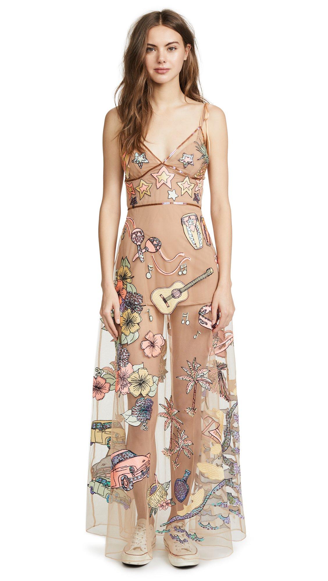 For Love & Lemons Women's Cuba Embroidery Sequin Dress, Parrot, S