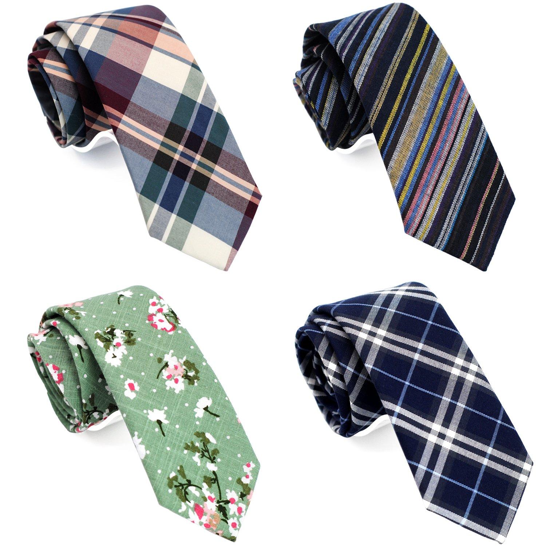 Casual Skinny Neckties for Men 2 1/2 Cotton Slim tie Plaid/Stripe/Floral TG-007