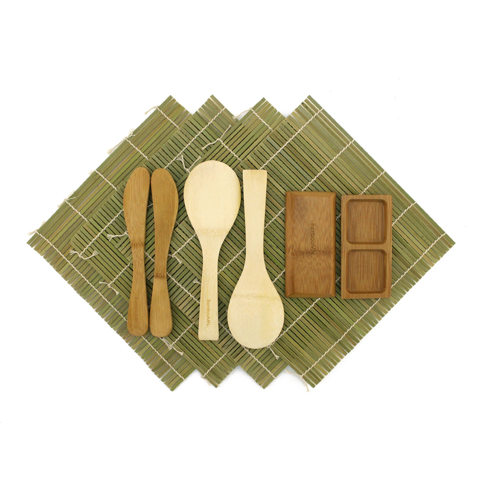 BambooMN Deluxe Sushi Making Kit 2 SETS of 2x Green Bamboo Rolling Mats, 1x Rice Paddle, 1x Spreader, 1 Compartment Sauce Dish | 100% Bamboo Sushi Mats and Utensils