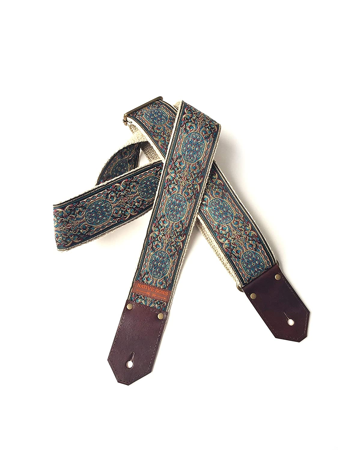 The Calypso Guitar Strap by Native Sons - Vintage style tapestry strap in blue and earth tones with hemp or nylon and leather