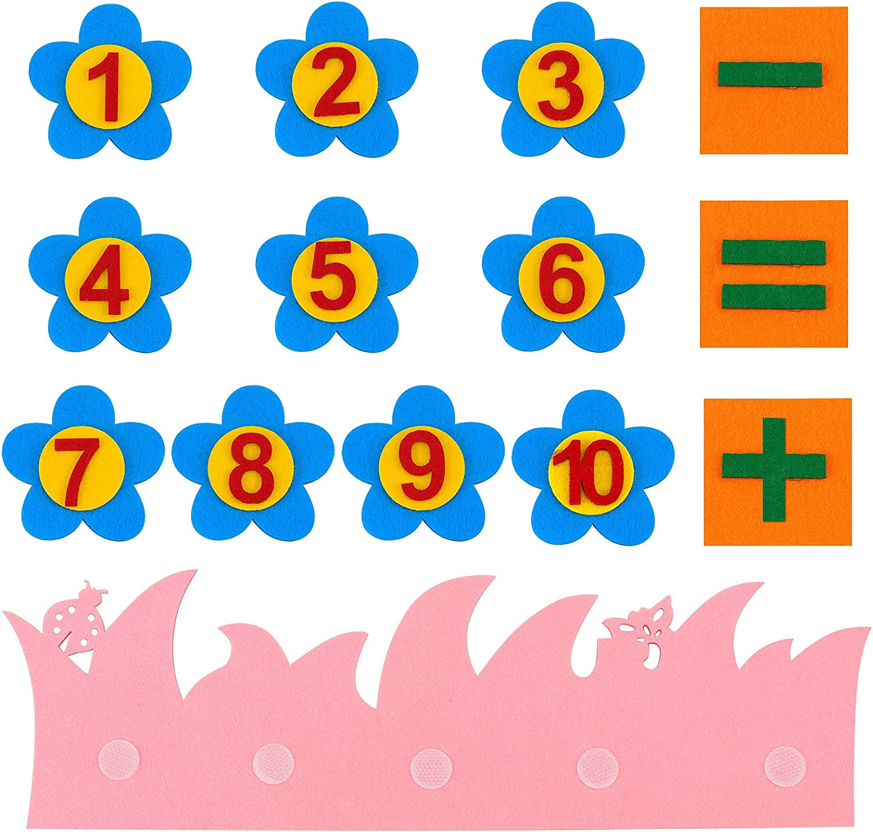 und Zahlen-Matching-Spielzeug Montessori Mathe-Spielzeug f/ür Kinder Lernen von Zahlen Meetory 2 Sets Filz Apfelbaum und 1 Set Filz Mathematik Lehrhilfe P/ädagogisches Apfel
