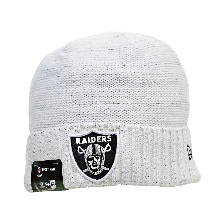 0f6965f64 New Era Oakland Raiders NFL 17 Knit Rush Men s Beanie Hat Cap White Black  11461027 (Size os) at Amazon Men s Clothing store