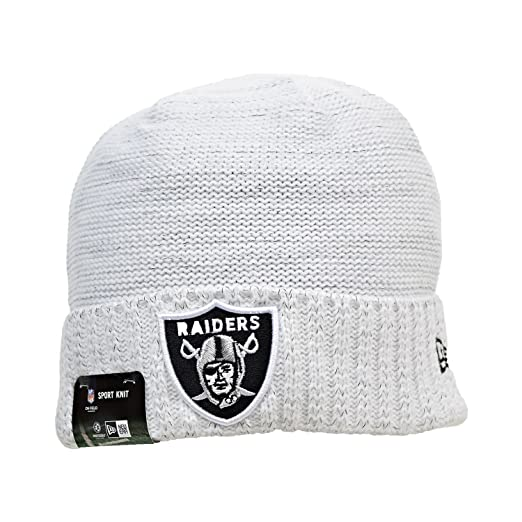 47c16a3a33c New Era Oakland Raiders NFL 17 Knit Rush Men s Beanie Hat Cap White Black  11461027