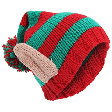 Adults Unisex Knitted Christmas Design Winter Bobble Hat With 3D Ears (One  Size) ( c2870b6a94b