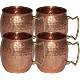 OliaDesign Handmade Hammered Moscow Mule Mug (Set of 4), 16 oz, Copper