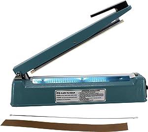 HFS (R) Impulse Manual Hand Sealer Heat Sealing Machine Poly Tubing Plastic Bag w/Spare Teflon & Sealing Elements (12IN)