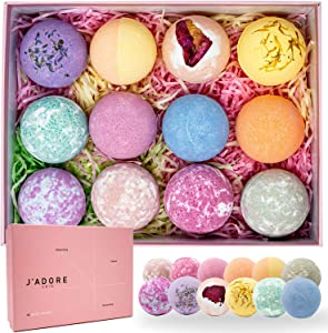 J'ADORE SKIN Bath Bombs for Gifts for Her - Natural Bubble Bath Bomb Set for Dry Sensitive Skin - Organic Handmade Bath Bombs for Women - Bath Bombs for Kids, Perfect Gift for Mothers Day Bathbombs