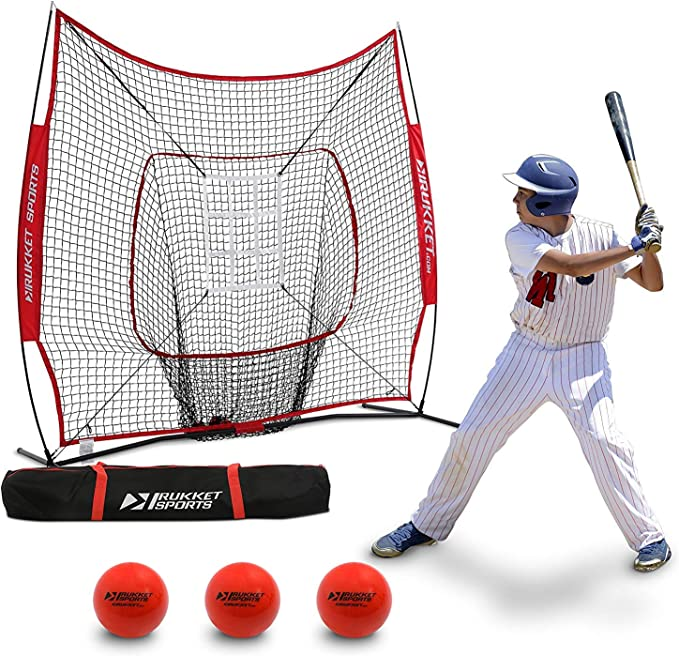 Pitching Red New Fielding Soft Toss Practices Anywhere Anytime 7x7FT Sturdy Construction Bow Frame Baseball Softball Teeball Practice Batting Training Net with Bag Perfect for Hitting