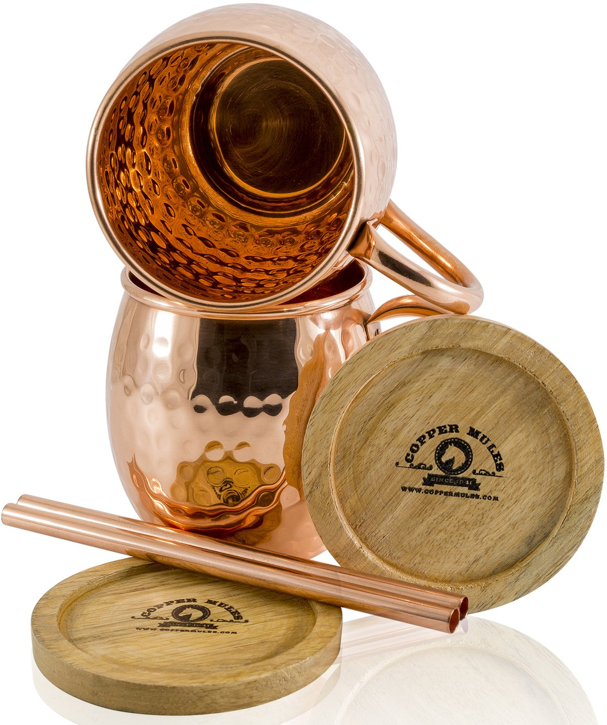 Moscow Mule Copper Mugs Set of 2 by Copper Mules – Hand Hammered – Classic Riveted Handles – Holds 16oz