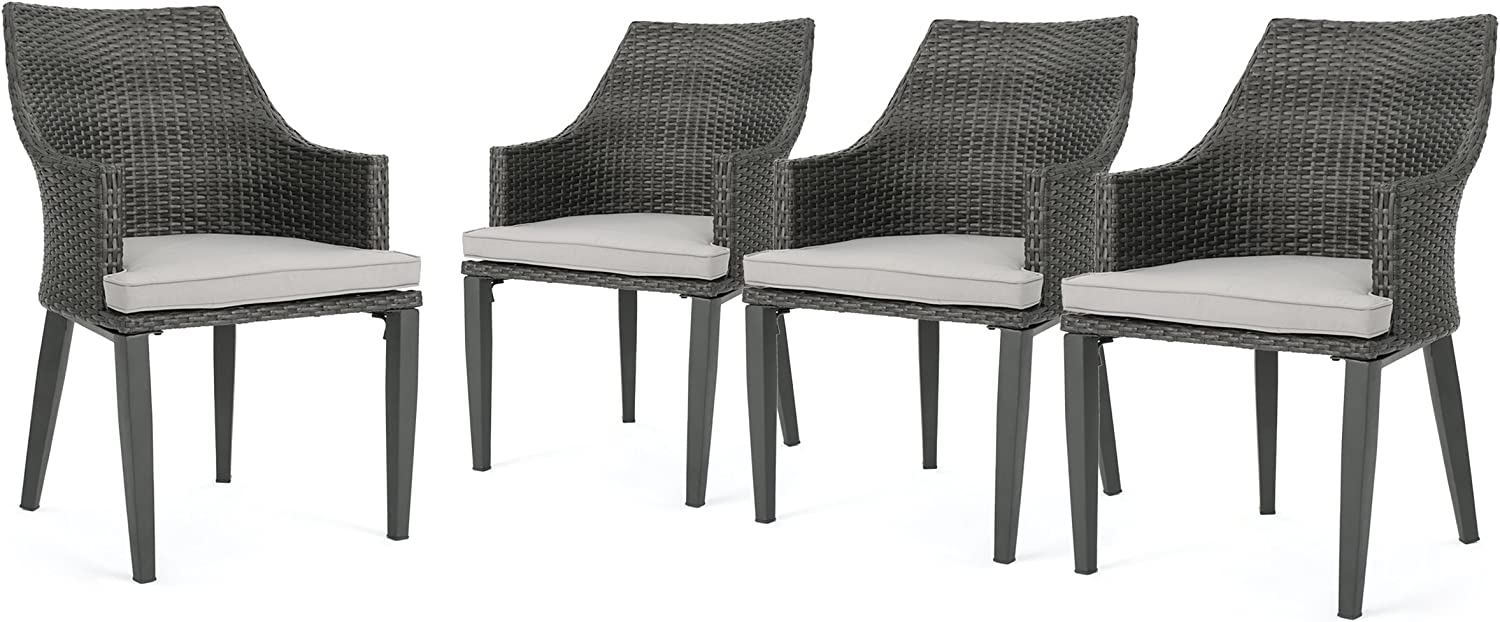 Hilary Outdoor Grey Wicker Dining Chairs with Light Grey Water Resistant Cushions Set of 4