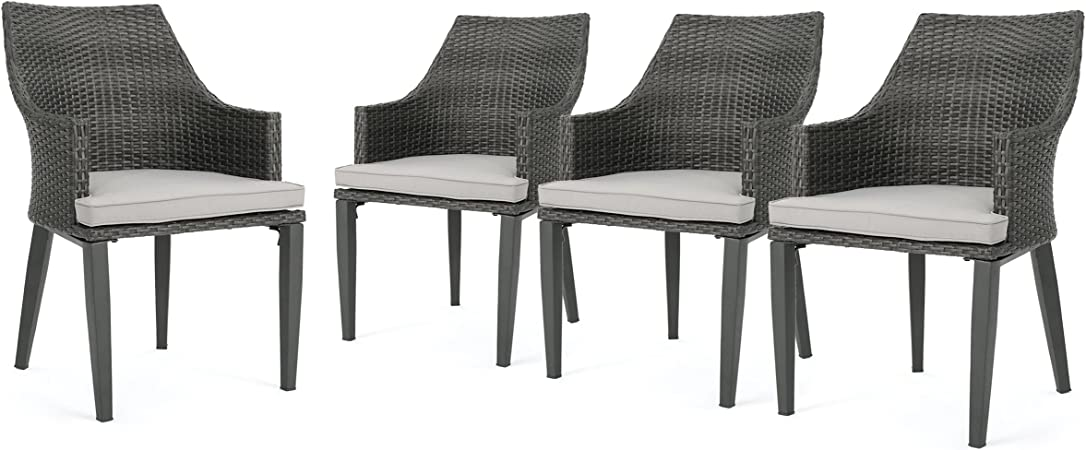 Amazon Com Hilary Outdoor Grey Wicker Dining Chairs With Light Grey Water Resistant Cushions Set Of 4 Garden Outdoor