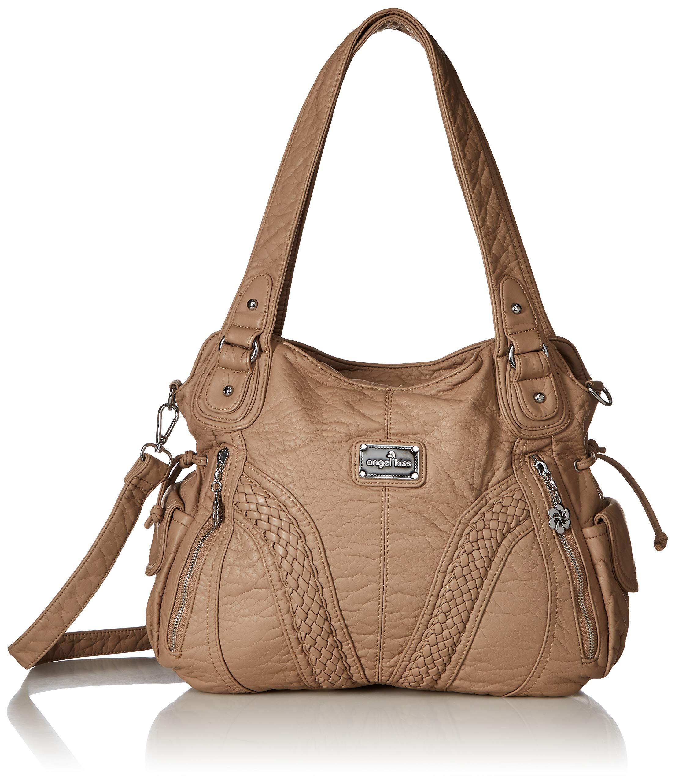 Angelkiss Women Top Handle Satchel Handbags Shoulder Bag Messenger Tote Washed Leather Purses Bag (Soil Grey) …