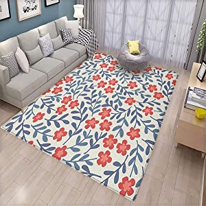 Floral,Modern Personality Carpet,Spring Imagery with Warm Vintage Colors Leaves Ornamental Floral Design,Can be Used for Floor Decoration,5.6'x8.6' Cadet Blue Coral Cream