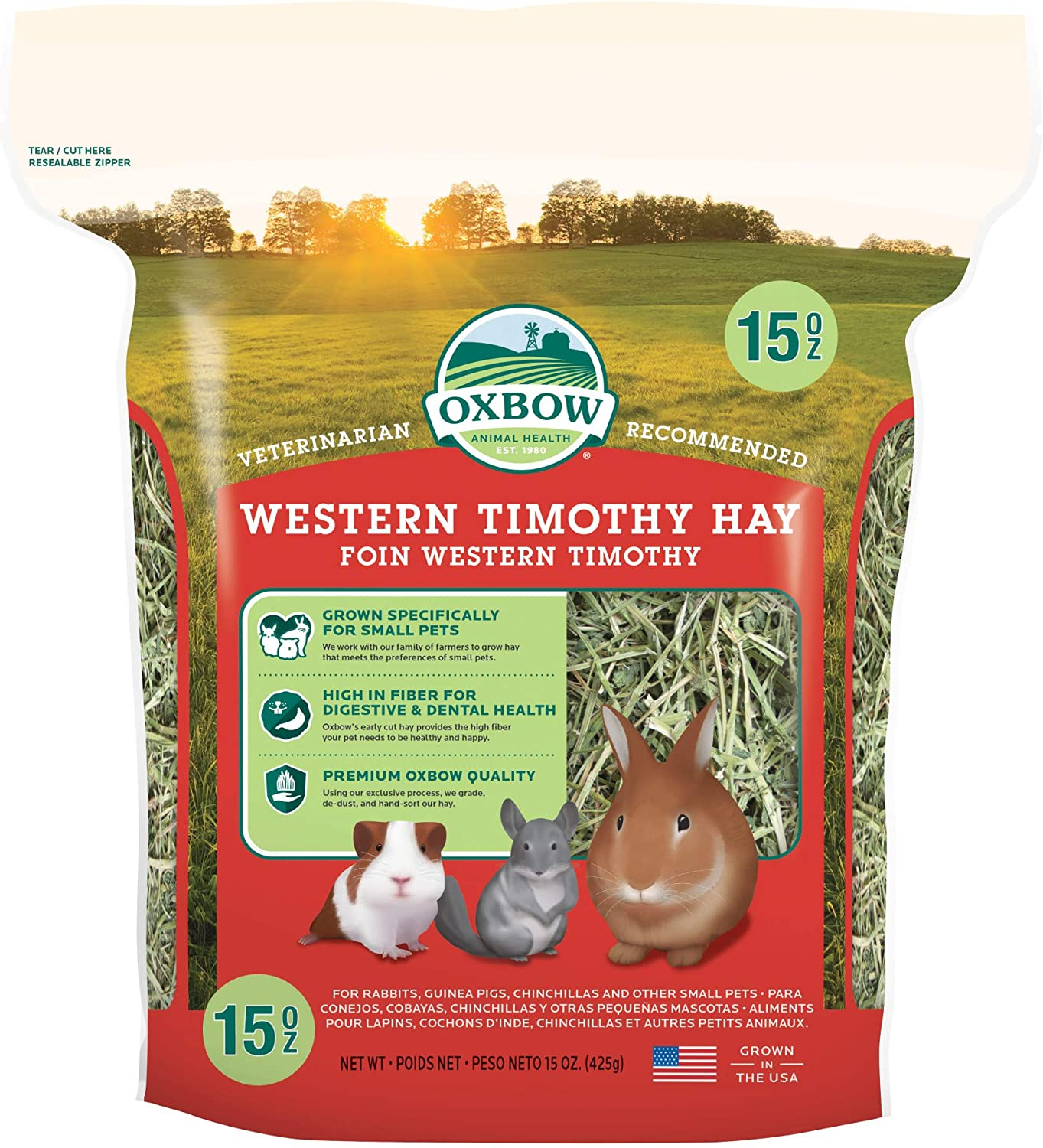 Oxbow Animal Health Western Timothy Hay - All Natural Hay for Rabbits, Guinea Pigs, Chinchillas, Hamsters & Gerbils