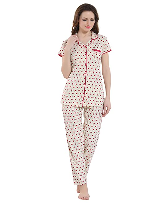 0e814076b5 Kayimi Women s Cotton Printed Front Open Flannel Night Suit  Amazon ...