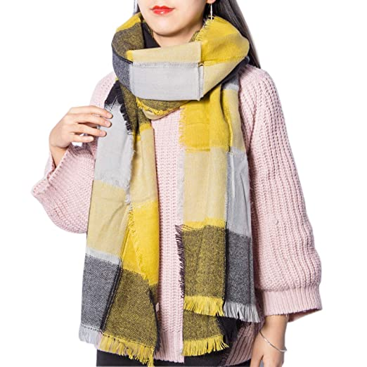 9871f0883e71a Women's Long Plaid Chunky Oversized Big Warm Scarf Tartan Wrap Plaid Shawl