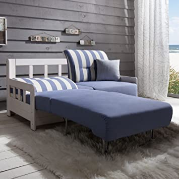 Schlafsofa Campuso Blau Weiss Stoff Sofa Couch Massiv Holz Schlafcouch Bettfunktion