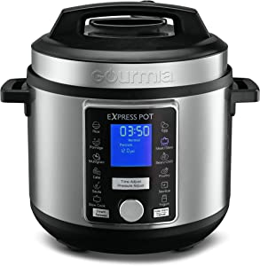 Gourmia GPC965 Digital Multi-Functional Pressure Cooker - Automatic Pressure Release - Adjustable Pressure Control - 13 Cook Modes - Removable Stainless Steel 6 Qt Pot - Lid Lock - Auto Stir Function