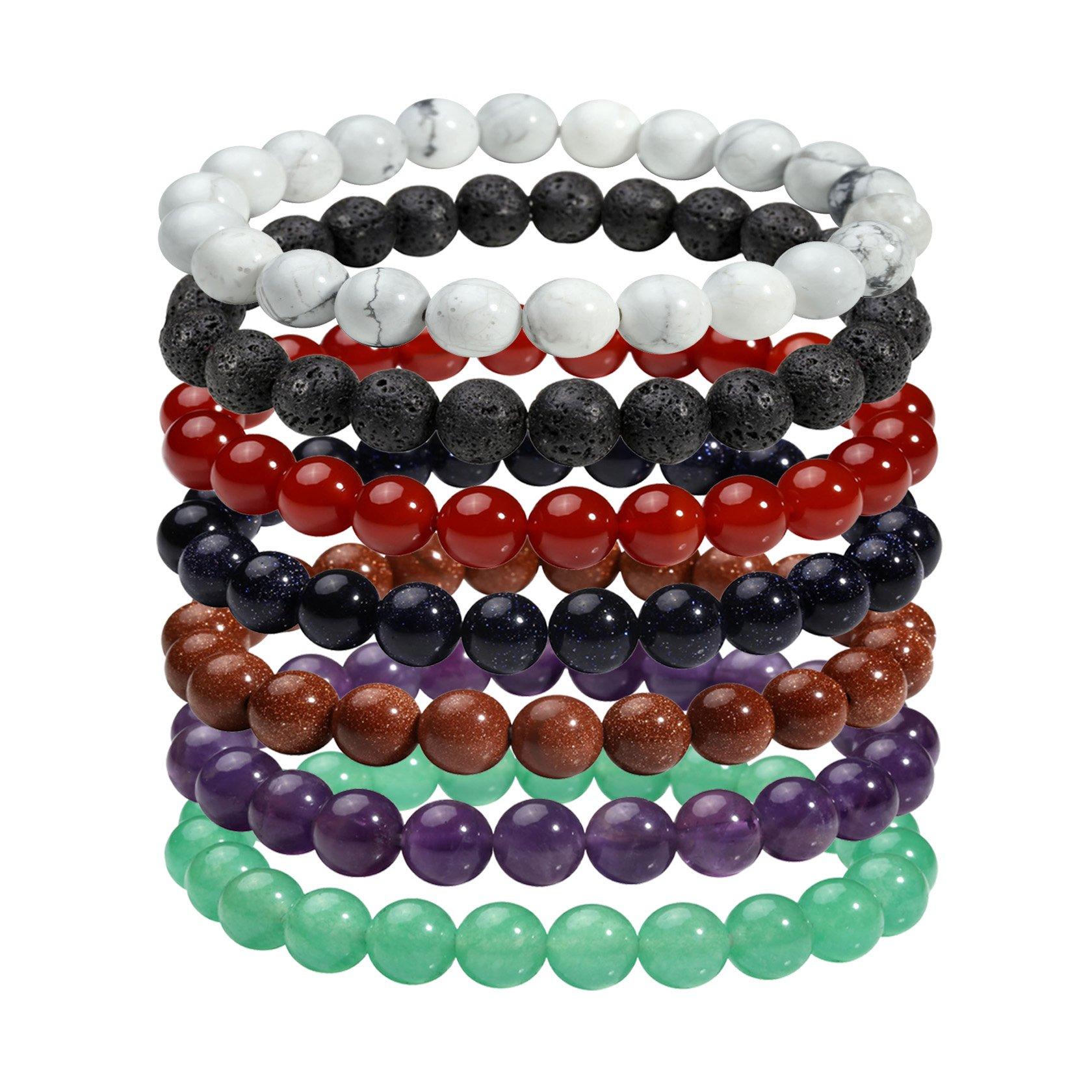 Milakoo 8MM Natural Gemstone Healing Power Round Elastic Stretch Bracelet Tiger Eye/Amethyst