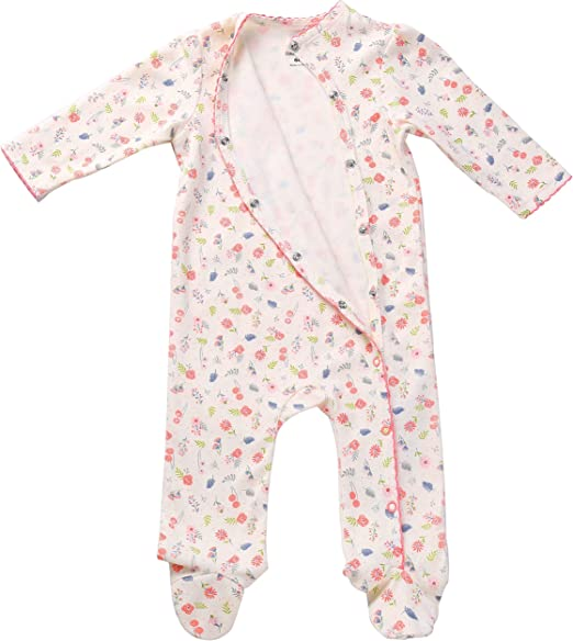 Footie Side Snap Onesie. Baby Girls Footed Pajamas Sleepers