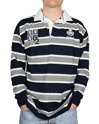 Escocia L/S 62 Edimburgo Alta Rugby Camiseta - Gris/Azul Marino ...