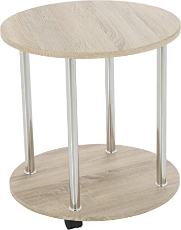 King Whitewashed Oak Effect End Table Side Table Coffee Table Round 45cm X 45cm For Living Rooms Lounges Study Etc With Castors Amazon Co Uk Kitchen Home