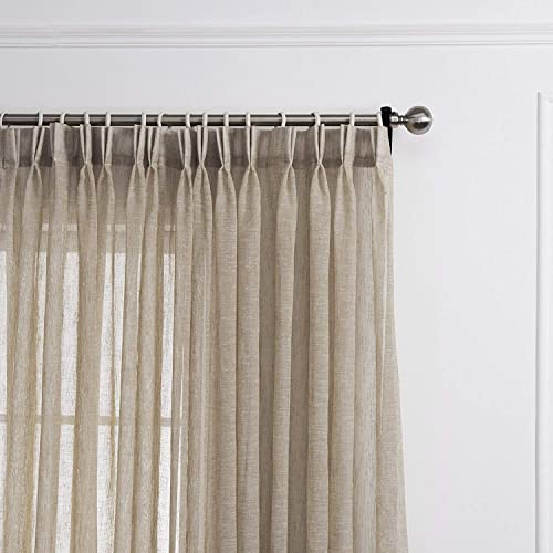 LANTIME Semi Sheer Curtains 96 inches Long