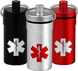3 Mini Stash Jars with Medical Emblem, 100% Airtight Waterproof Smell Proof Container Pill Holder Secures Nitroglycerin Nitro Bottle Aspirin Ibuprofen Medications Herbs Food Plus, EDC Keychain Fob