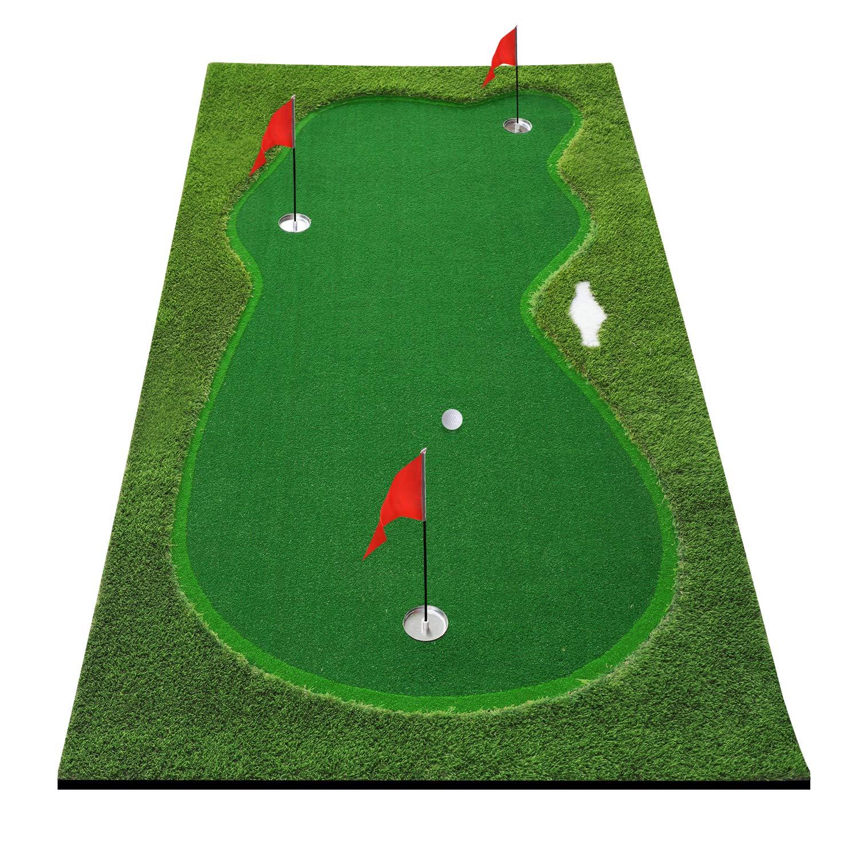 BOBURN Golf Putting Green Mat-Golf Training Mat- Professional Golf Practice Mat- Green Long Challenging Putter for Indoor Outdoor
