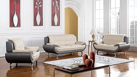 American Eagle Furniture Highland Complete 3 Piece Living Room Leather Sofa  Set, Light/Dark