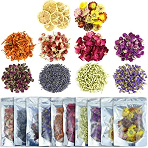 Wpxmer 10 Pack Different Dried Flowers, Food Grade Natural Dried Flower Herbs Kit for Soap Making, Bath, Candle Making, 20g Per Pack