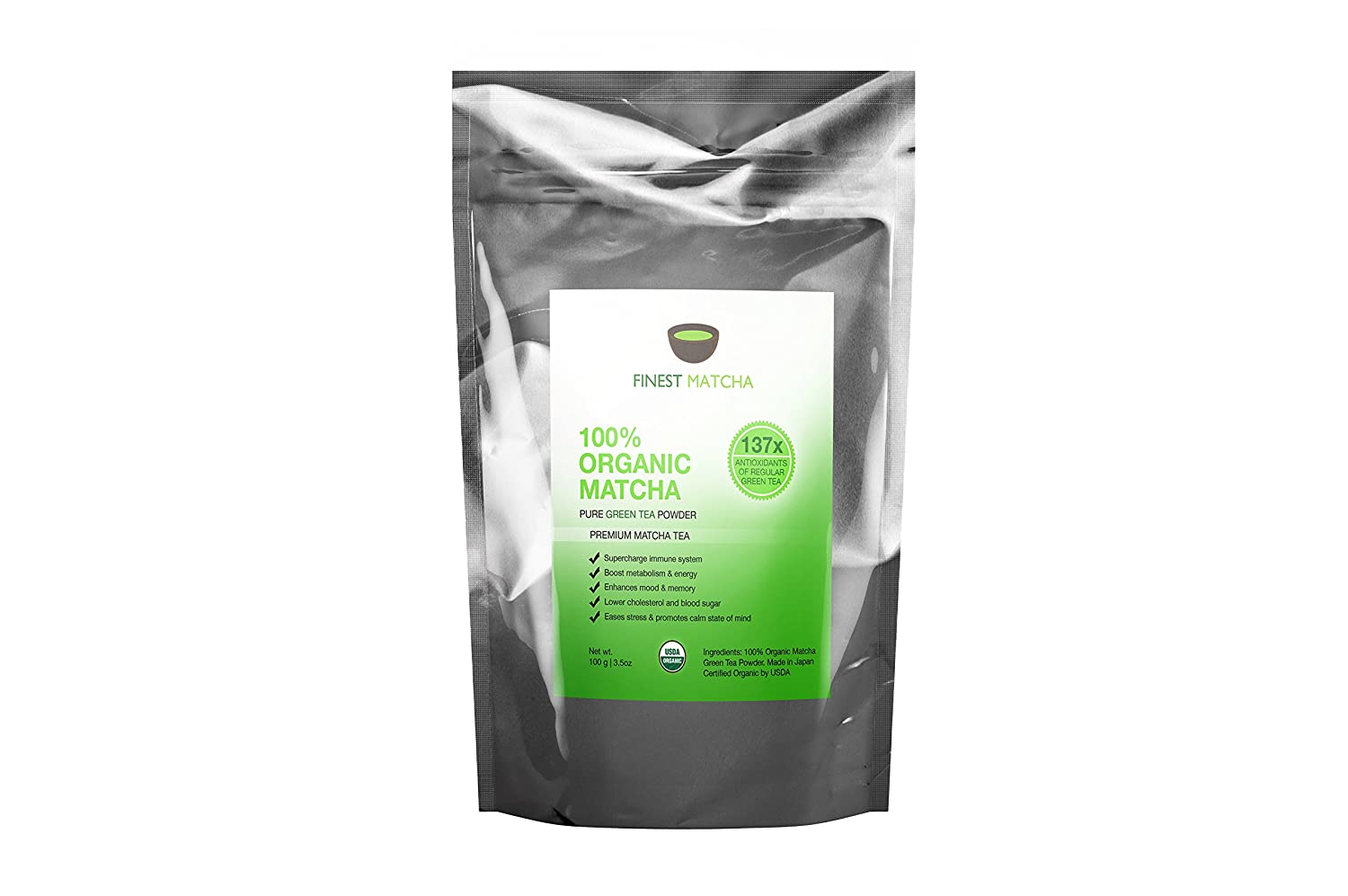 Matcha Green Tea Powder, 100% Organic Japanese Premium Matcha - Fat Burner, Energy Booster, 137 x Antioxidants, 100g Finest Matcha