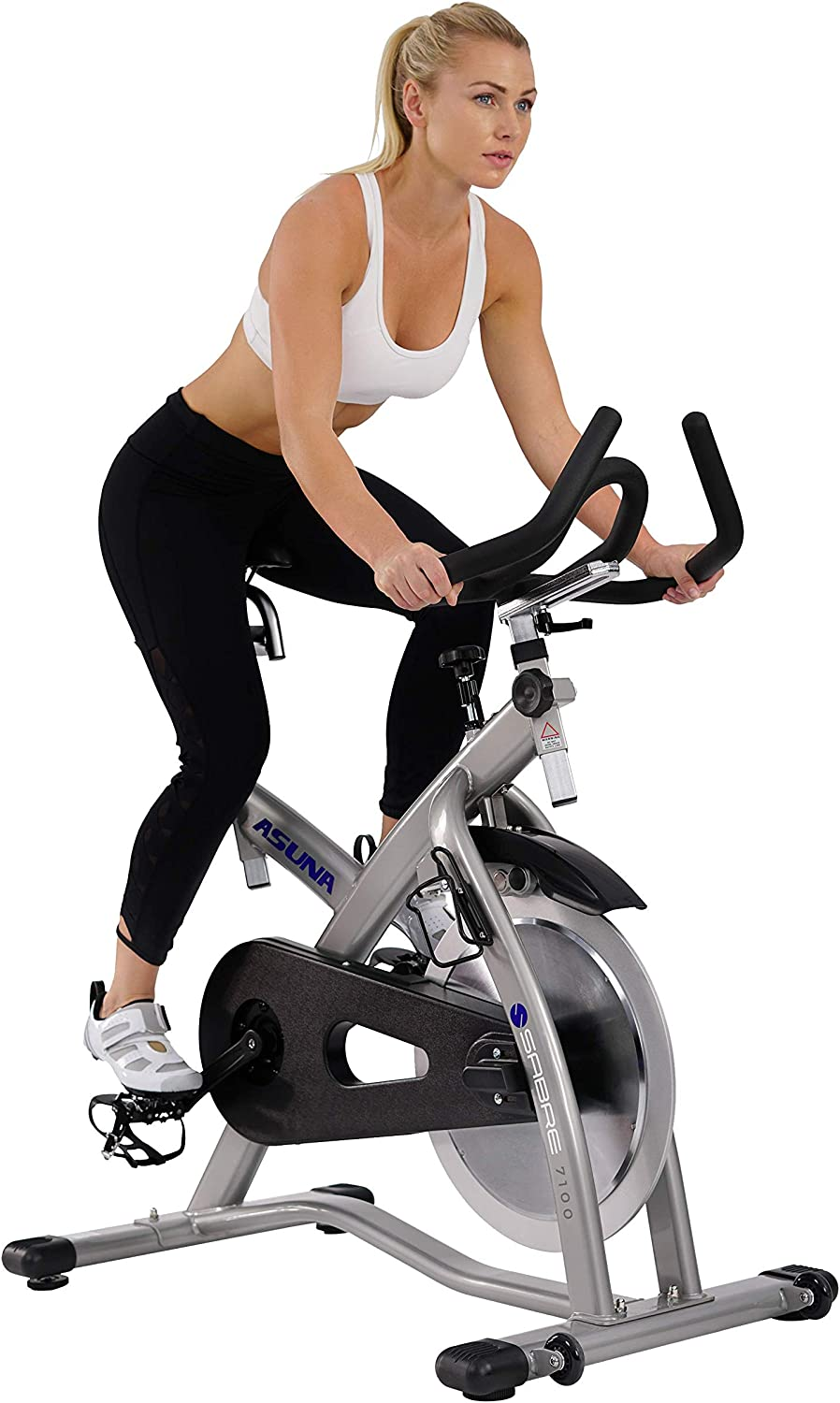 ASUNA 7100 Sabre Cycle Exercise Bike – Magnetic Belt Drive Commercial Indoor Cycling Bike with SPD Style Cage Pedals, 285 LB Max Weight and Low Q-Factor