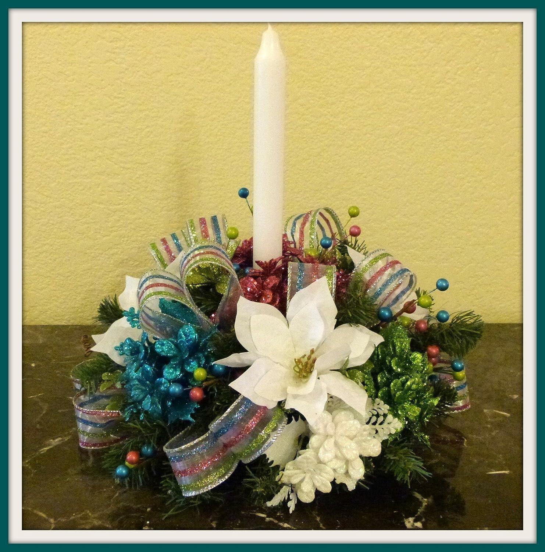 Amazon Pink & Blue Christmas Candle Centerpiece Christmas