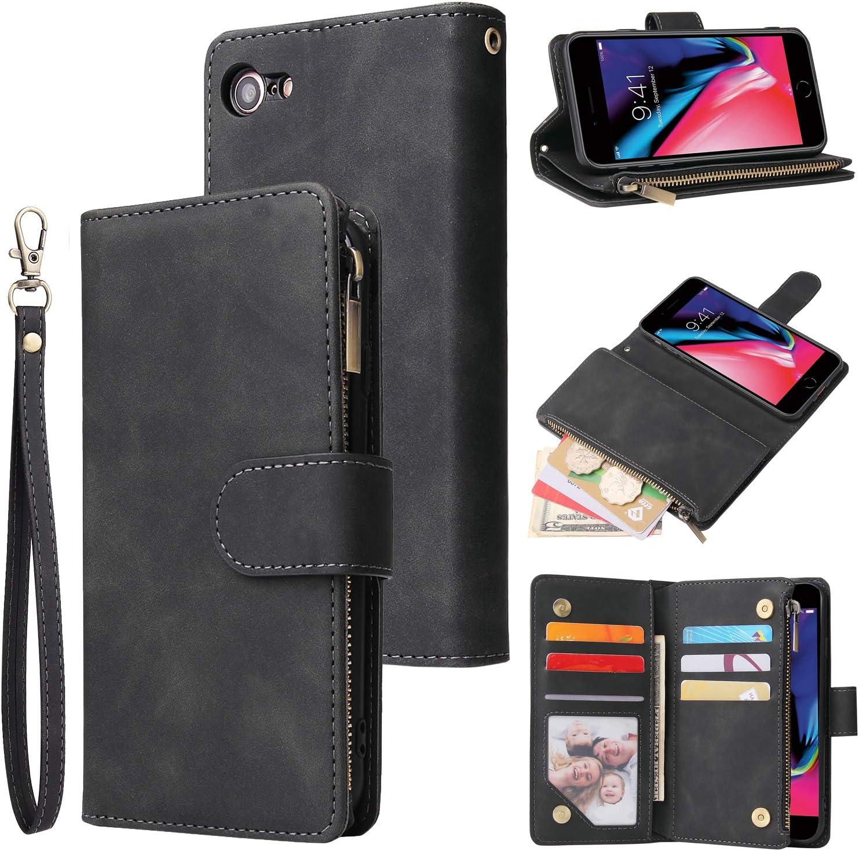 LBYZCASE Phone Case for iPhone 6 Plus,iPhone 6S Plus Wallet Case,Luxury Folio Flip PU Leather Cover[Zipper Pocket][Magnetic Closure][Wrist Strap][Kickstand ] for Apple iPhone 6/6s Plus-Black