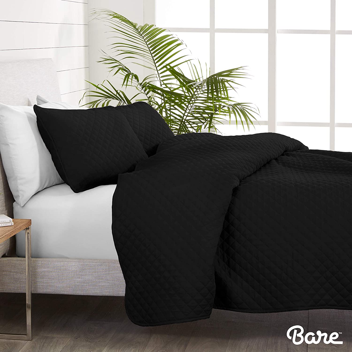 Bare Home Premium 2 Piece Coverlet Set Diamond Stitched Twin//Twin Extra Long Size Twin//Twin XL, Grey Ultra-Soft Luxurious Lightweight All Season Bedspread